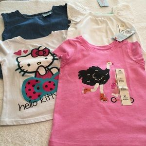 4 Hello Kitty Cat&Jack tops size 2T 2 NWT summer